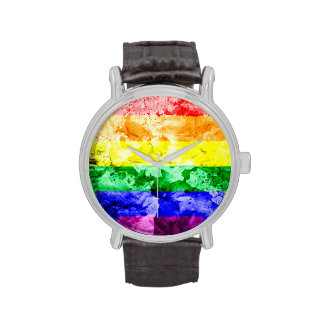 RAINBOW FLAG SQUARE WATERCOLOR WRISTWATCHES