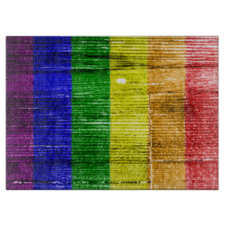 RAINBOW FLAG SQUARE WOOD PATTERN CUTTING BOARDS