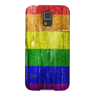 RAINBOW FLAG SQUARE WOOD PATTERN GALAXY S5 COVERS