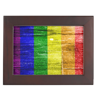 RAINBOW FLAG SQUARE WOOD PATTERN MEMORY BOXES
