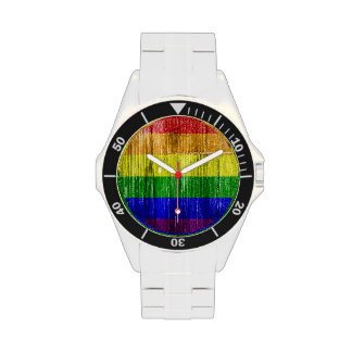 RAINBOW FLAG SQUARE WOOD PATTERN WATCHES