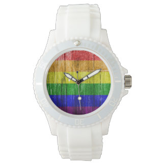 RAINBOW FLAG SQUARE WOOD PATTERN WRISTWATCHES