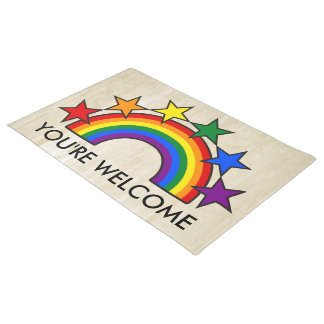 RAINBOW FLAG & STARS COLORS II + your ideas Doormat