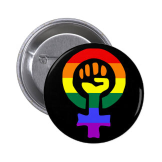 Rainbow Flag Woman Power button