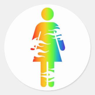 rainbow flame girl classic round sticker