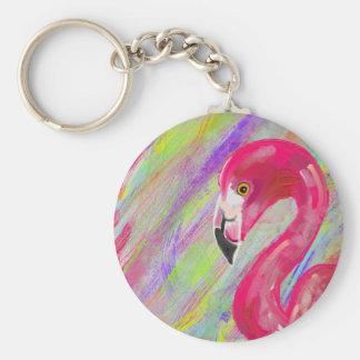 Rainbow Flamingo Print Key Ring
