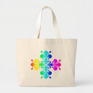 Rainbow Fleur de lis Large Tote Bag