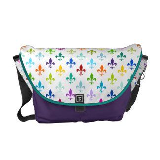 Rainbow fleur de lis pattern commuter bags