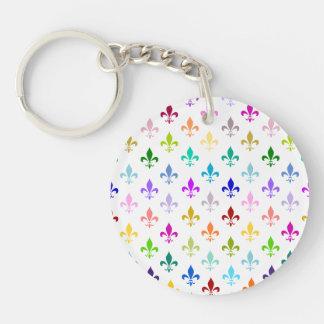 Rainbow fleur de lis pattern key ring