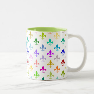 Rainbow fleur de lis pattern Two-Tone coffee mug