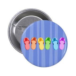 Rainbow Flip Flops 6 Cm Round Badge