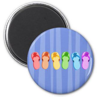 Rainbow Flip Flops 6 Cm Round Magnet