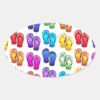 Rainbow Flip Flops Oval Stickers