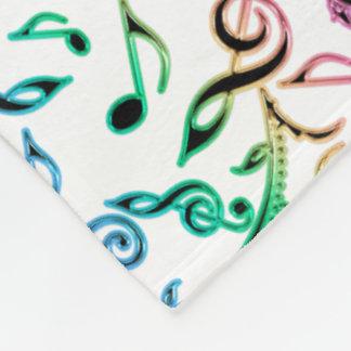 Rainbow Floral Music Pattern On White Blanket