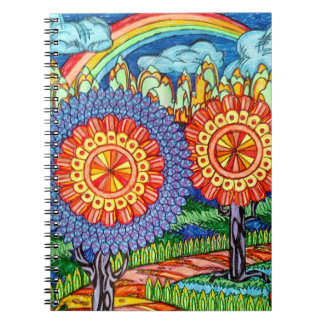 Rainbow floral Notebook (80 Pages B&W)