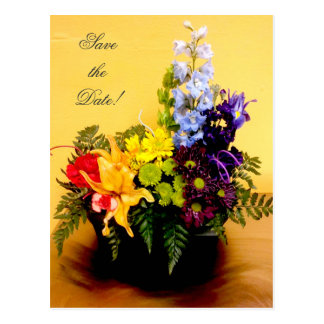 Rainbow flower arrangement Save the Date Postcard