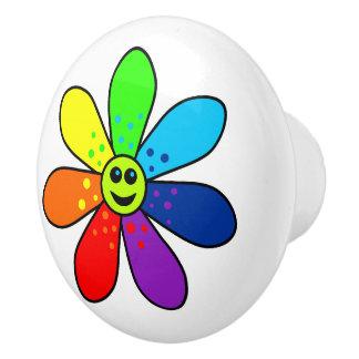 Rainbow Flower Ceramic Knob