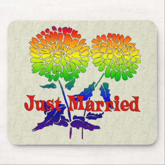 Rainbow Flower Marriage Mouse Pad