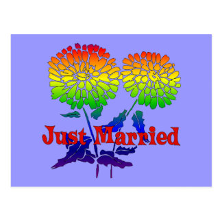 Rainbow Flower Marriage Postcard