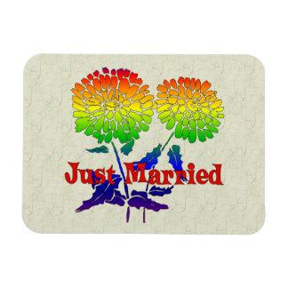 Rainbow Flower Marriage Rectangular Magnet
