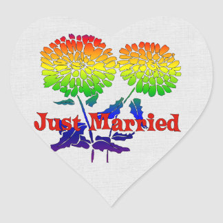 Rainbow Flower Marriage Heart Sticker