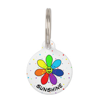 Rainbow Flower Pet Tag