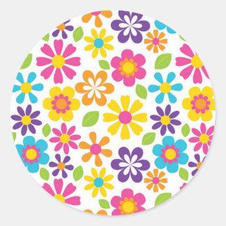 Rainbow Flower Power Hippie Retro Teens Gifts Classic Round Sticker