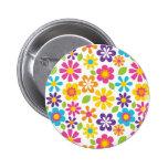 Rainbow Flower Power Hippie Retro Teens Gifts Pin