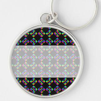 Rainbow Flowers. Bright Pattern on Black. Key Ring