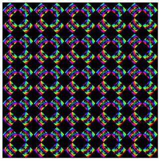 Rainbow Flowers. Bright Pattern on Black. Photo Sculpture Key Ring