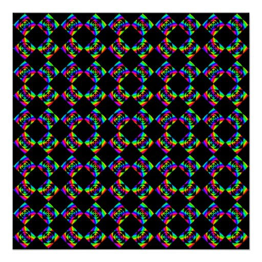 Rainbow Flowers. Bright Pattern on Black. Print