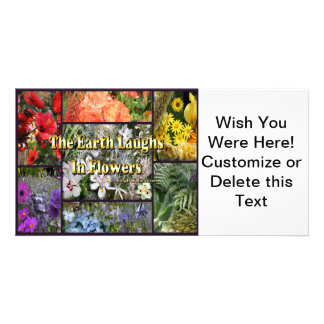 Rainbow Flowers - Earth Laughs by Emerson Customised Photo Card