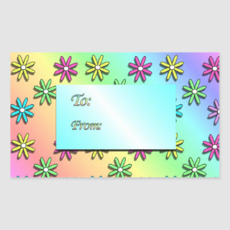 Rainbow Flowers Gift Tags Rectangle Sticker