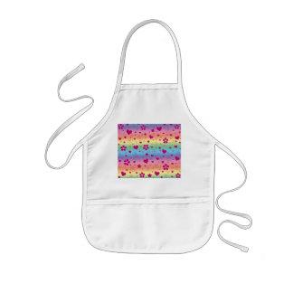 Rainbow flowers hearts stars and swirls kids apron