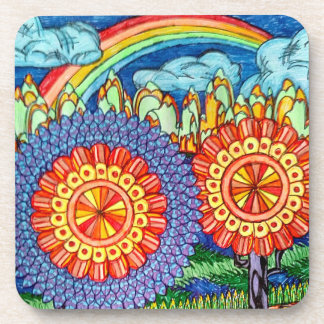 Rainbow flowers plastic coasters-set of 6 coaster