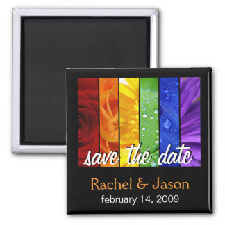 Rainbow Flowers | Save the Date Square Magnet