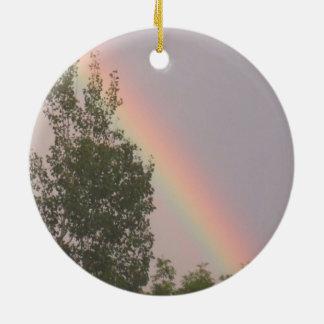 Rainbow for Christmas Round Ceramic Decoration