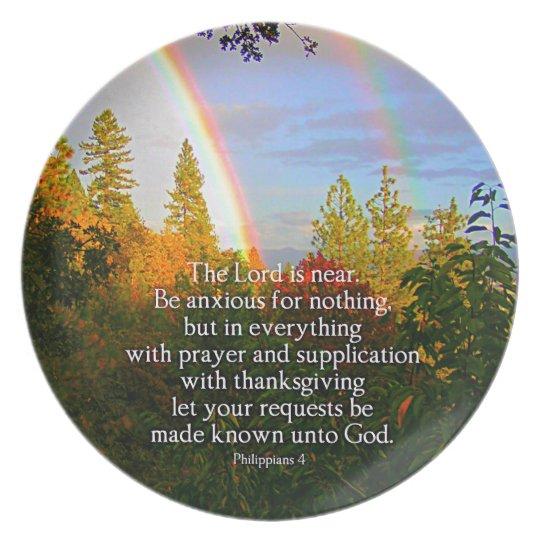 Rainbow Forest Christian Scripture Bible Verse Plate
