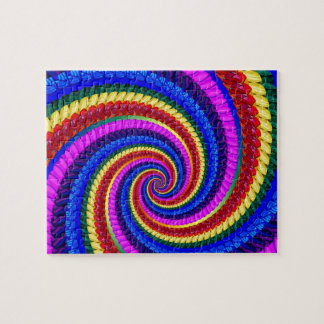 Rainbow Fractal Art Swirl Pattern Jigsaw Puzzle