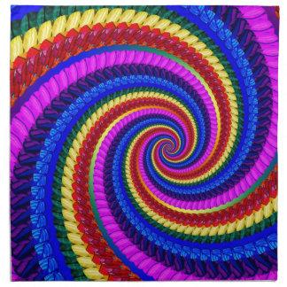 Rainbow Fractal Art Swirl Pattern Napkin