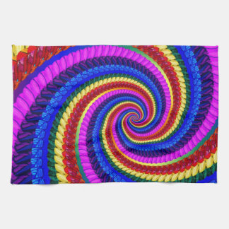 Rainbow Fractal Art Swirl Pattern Tea Towel