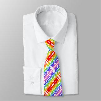 Rainbow Fractal Mosaic Pattern Tie