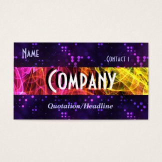 Rainbow Fractal Smoke and Purple Glitter Business Card