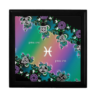 Rainbow Fractal Zodiac Sign Pisces Gift Box