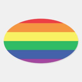 Rainbow  Freedom Gay Pride Flag Symbol Oval Sticker