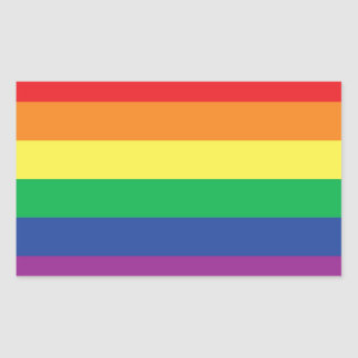 Rainbow  Freedom Gay Pride Flag Symbol Rectangular Sticker