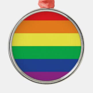 Rainbow  Freedom Gay Pride Flag Symbol Silver-Colored Round Decoration