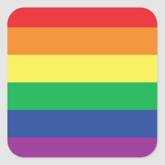 Rainbow  Freedom Gay Pride Flag Symbol Square Sticker