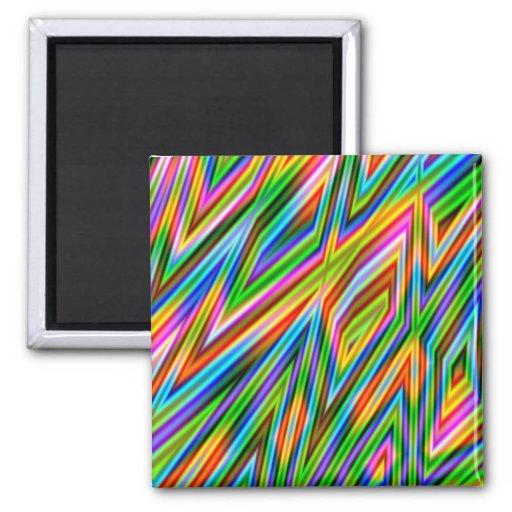 Rainbow Freeze - Geometric Fractal Fridge Magnets