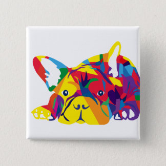 Rainbow French Bulldogge 15 Cm Square Badge